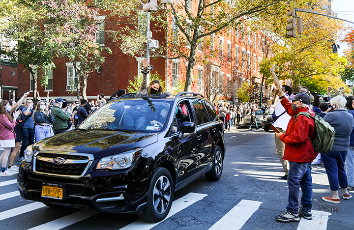 In the wake of President-Elect Joseph R. Biden Jr. being announced on Nov. 8, large crowds gathered along New York City streets to cheer on traffic and take part in the city-wide celebrations. (Iman Floyd-Carroll/Peninsula Press)