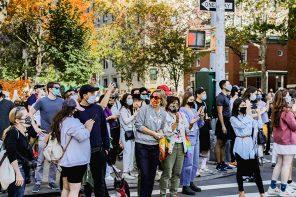 nyc crowds biden win village