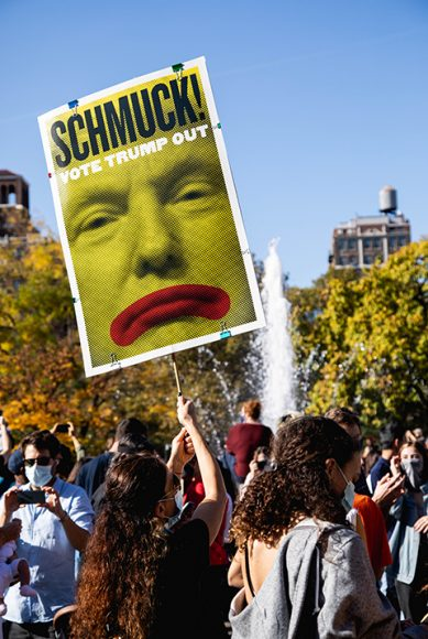 """A woman holds a sign """"Shmuck! Vote Trump Out"""" at a group celebration in Washington Square Park on Nov. 8. (Iman Floyd-Carroll/Peninsula Press)"""