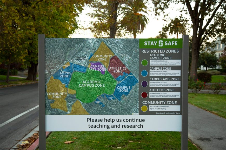 A sign at the intersection of Mayfield Avenue and Campus Drive showcases the different zones on campus. As a result of the coronavirus, Stanford developed restrictions of certain areas on campus to limit density. (Noah Cortez, Peninsula Press)