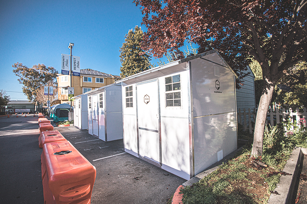 Individual, prefabricated housing units have allowed Housing Matters to expand capacity and maintain social distancing guidelines at their Coral Street shelter. (Photo courtesy of Housing Matters).