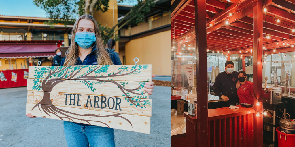 The left photo shows a young woman holding up a sign that reads 'The Arbor.' The photo on the right shows two people standing behind the bar and looking at the camera. They are wearing masks.