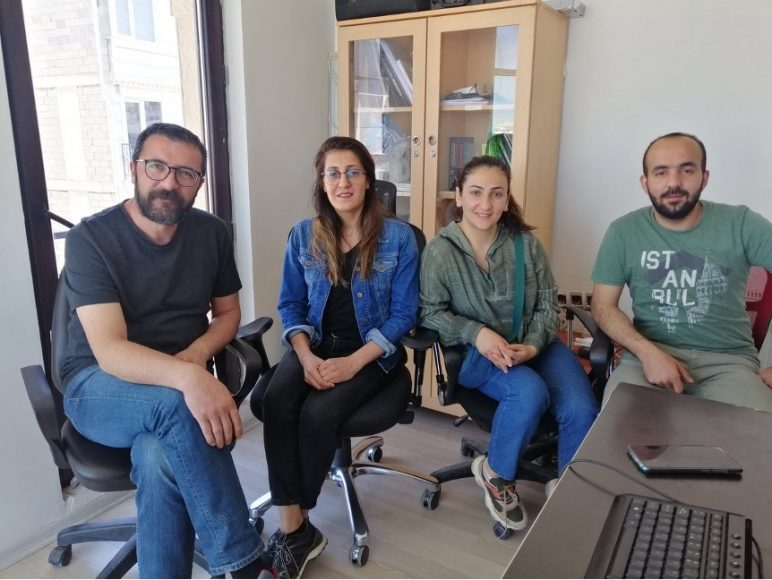 From left to right: Adnan Bilen, Seriban Abi, Nazan Sala and Cemil Uğur. The four journalists were detained by turkey and spent 179 days in jail before being released pending another trial scheduled for July 2. (Photo courtesy of @GazeteciCemil/Twitter)