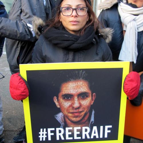 Raif Badawi's wife Ensaf Haidar attends a vigil for her husband in Montreal, Canada.