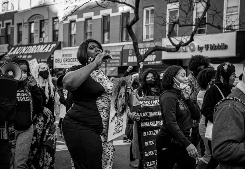 The founder of the Black Trans Liberation group, Qween Andy Jean, leads protesters down Ninth Avenue at the Justice for Breonna Taylor march on March 13, 2021. (Iman Floyd-Carroll/Peninsula Press)
