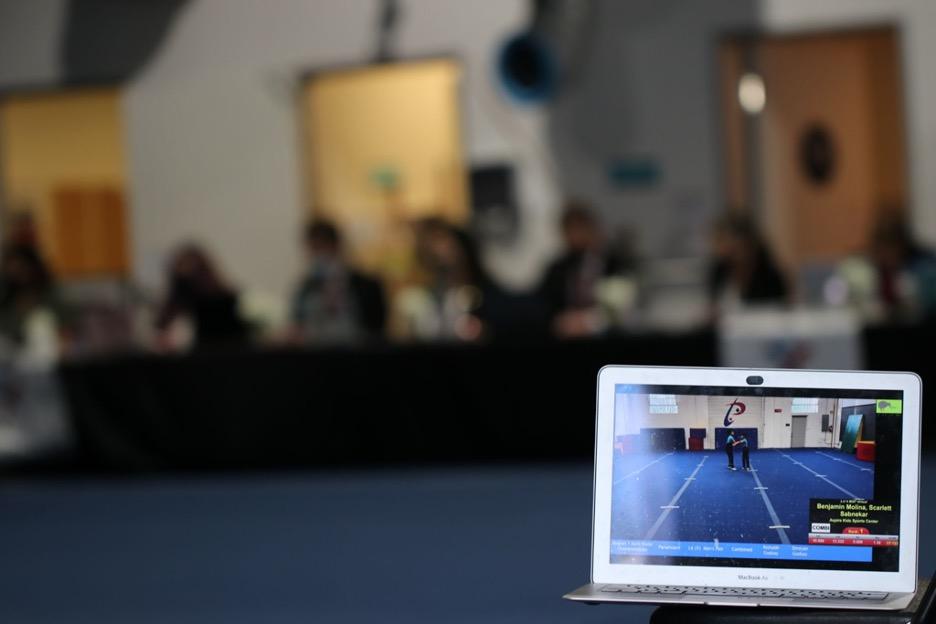 The virtual portion of the Acro State Championship was viewable via livestream. (Jasmine Kerber/Peninsula Press)