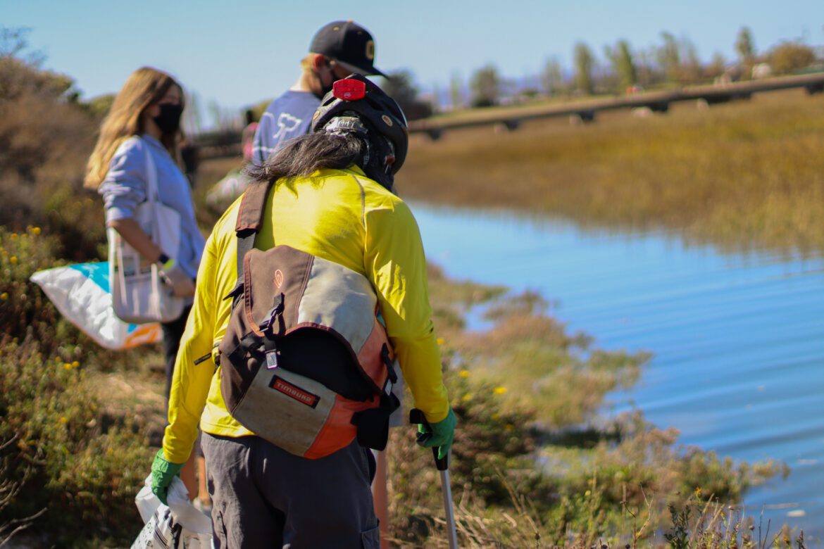 A woman is standing with two others picking up trash near a marsh.
