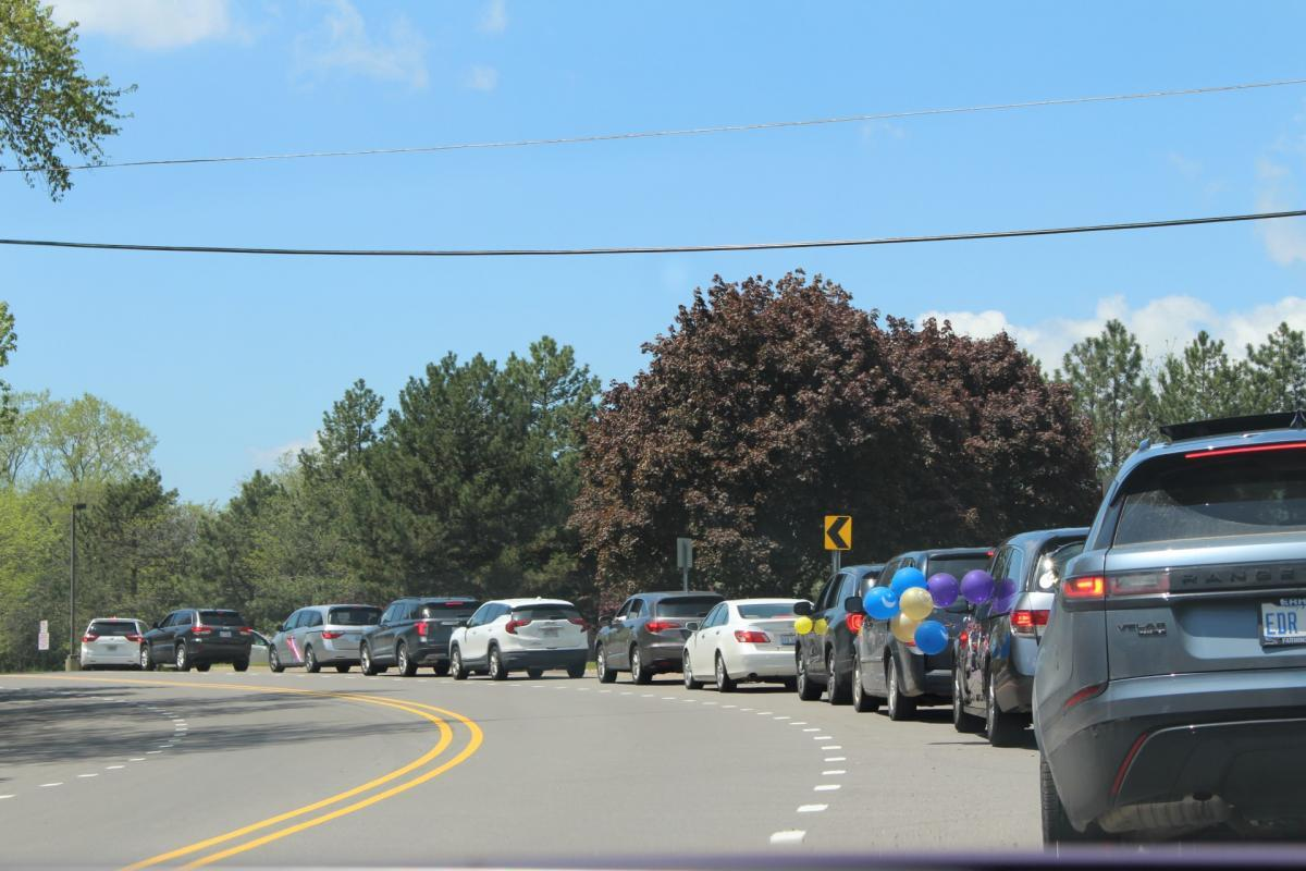 Long line of cars