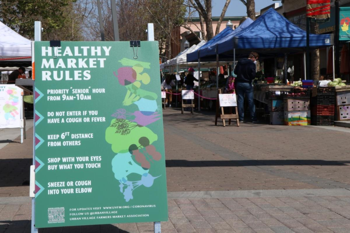 Signage at the Sunnyvale farmers market